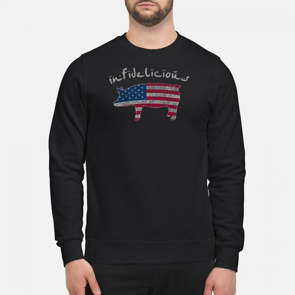 Infidelious pig in American flag shirt sweater