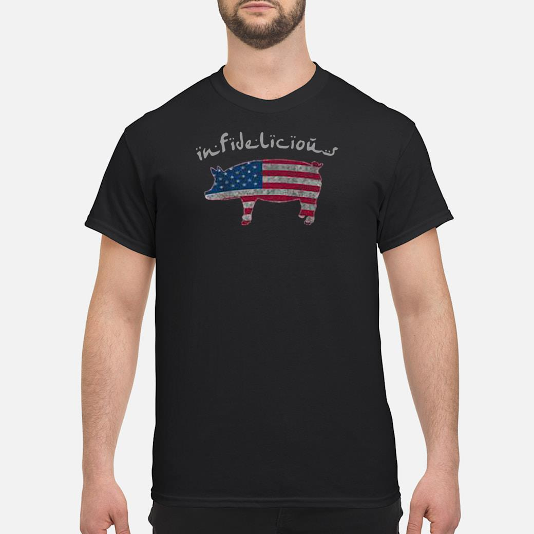 Infidelious pig in American flag shirt