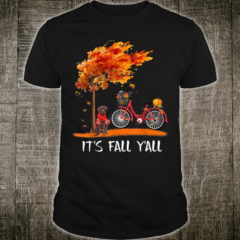 It's Fall Y'all Chocolate Labrador Bike Pumpkin Spice Autumn Shirt