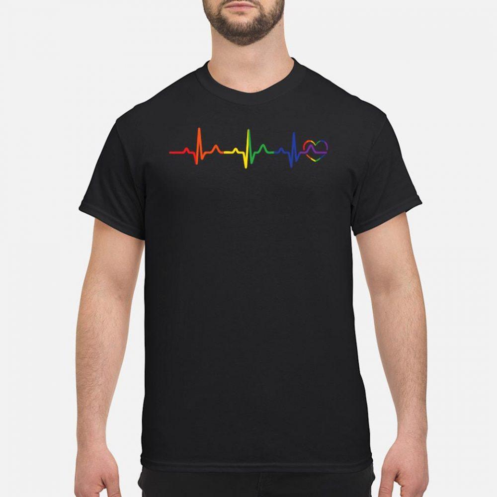 LGBTQ rainbow heartbeat gay pride shirt