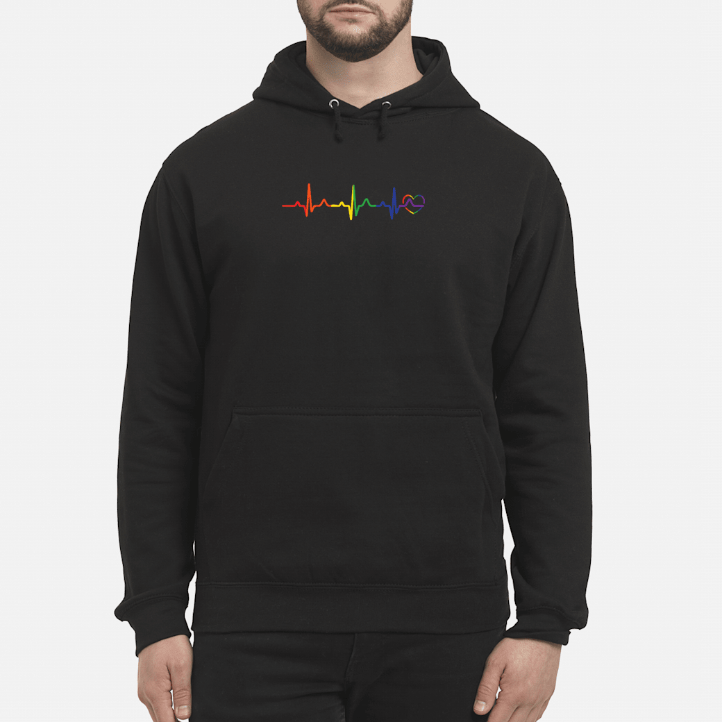 LGBTQ rainbow heartbeat gay pride shirt hoodie