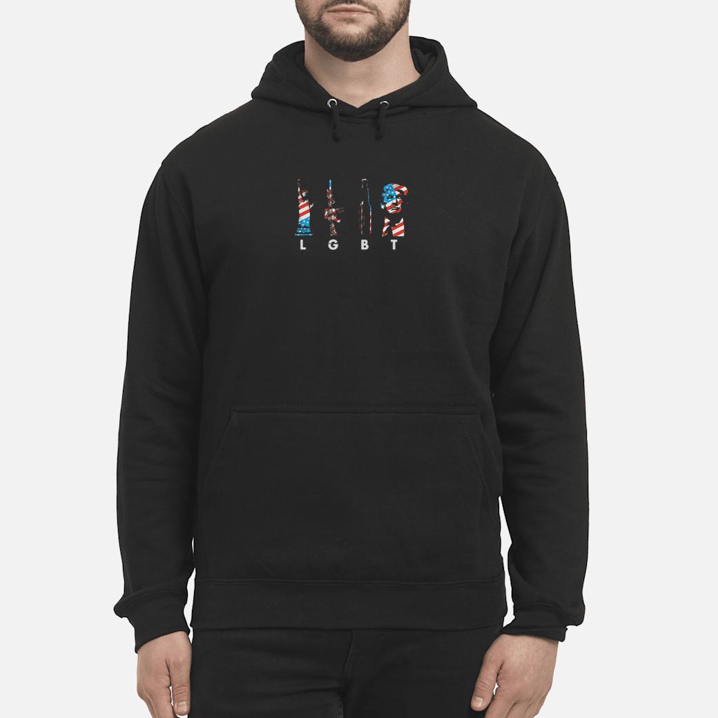 Liberties gun bottle Trump America flag LGBT shirt hoodie