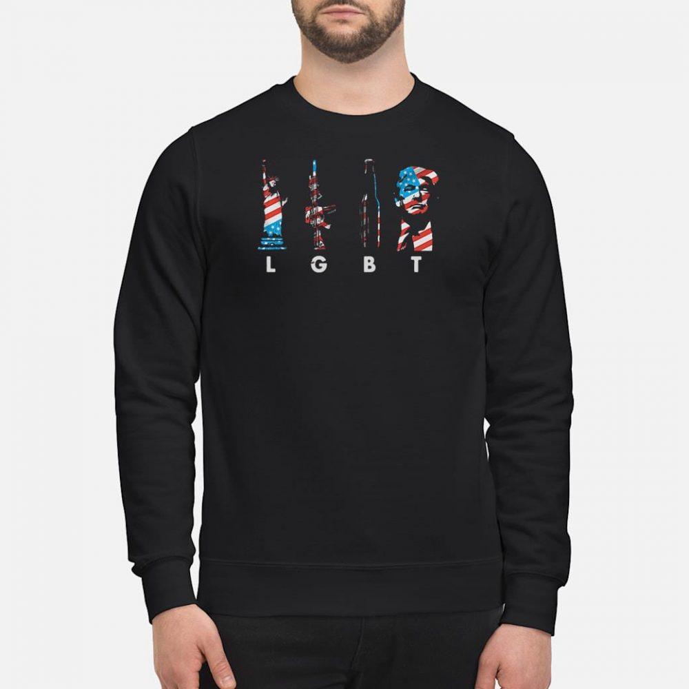 Liberties gun bottle Trump America flag LGBT shirt sweater