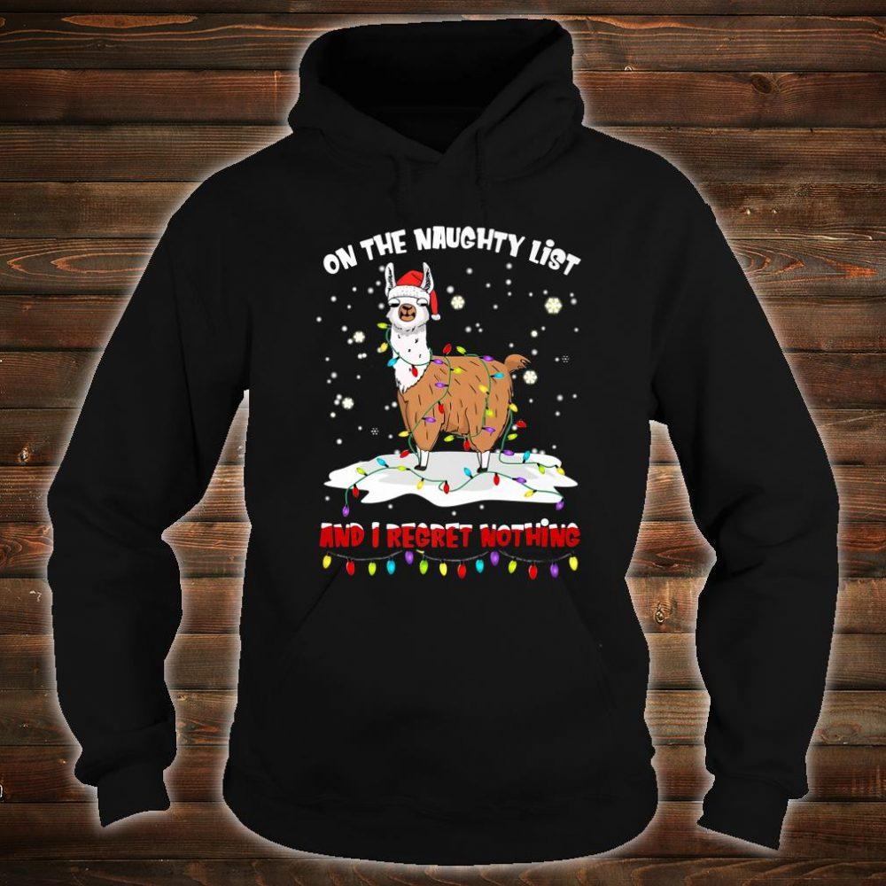 On The Naughty List I Regret Nothing Santa Hat Llama Xmas Shirt hoodie