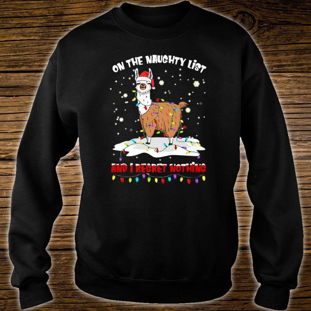 On The Naughty List I Regret Nothing Santa Hat Llama Xmas Shirt sweater