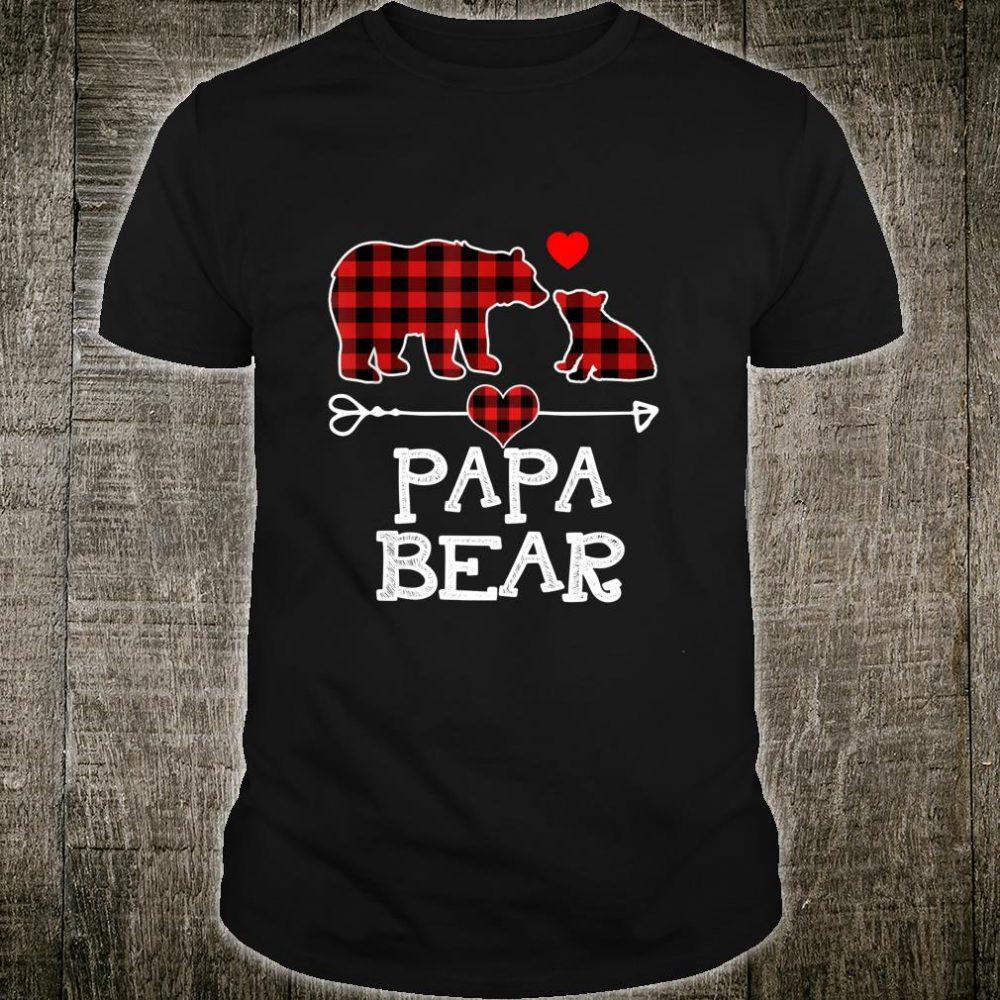 Papa Bear Christmas Pajama Red Plaid Buffalo Family Shirt