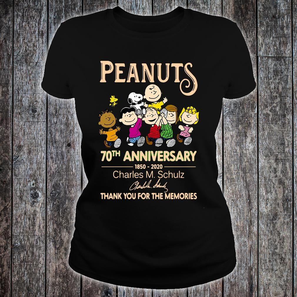 Peanuts 70th anniversary 1850 2020 thank you for the memories shirt ladies tee