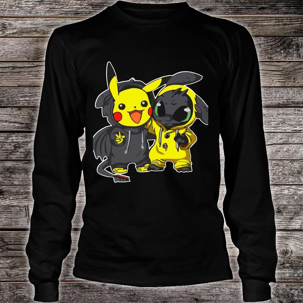 Pikachu And Toothless shirt long sleeved