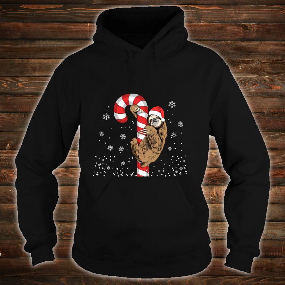 Santa Sloth Christmas With Candy Cane Sloth Shirt hoodie
