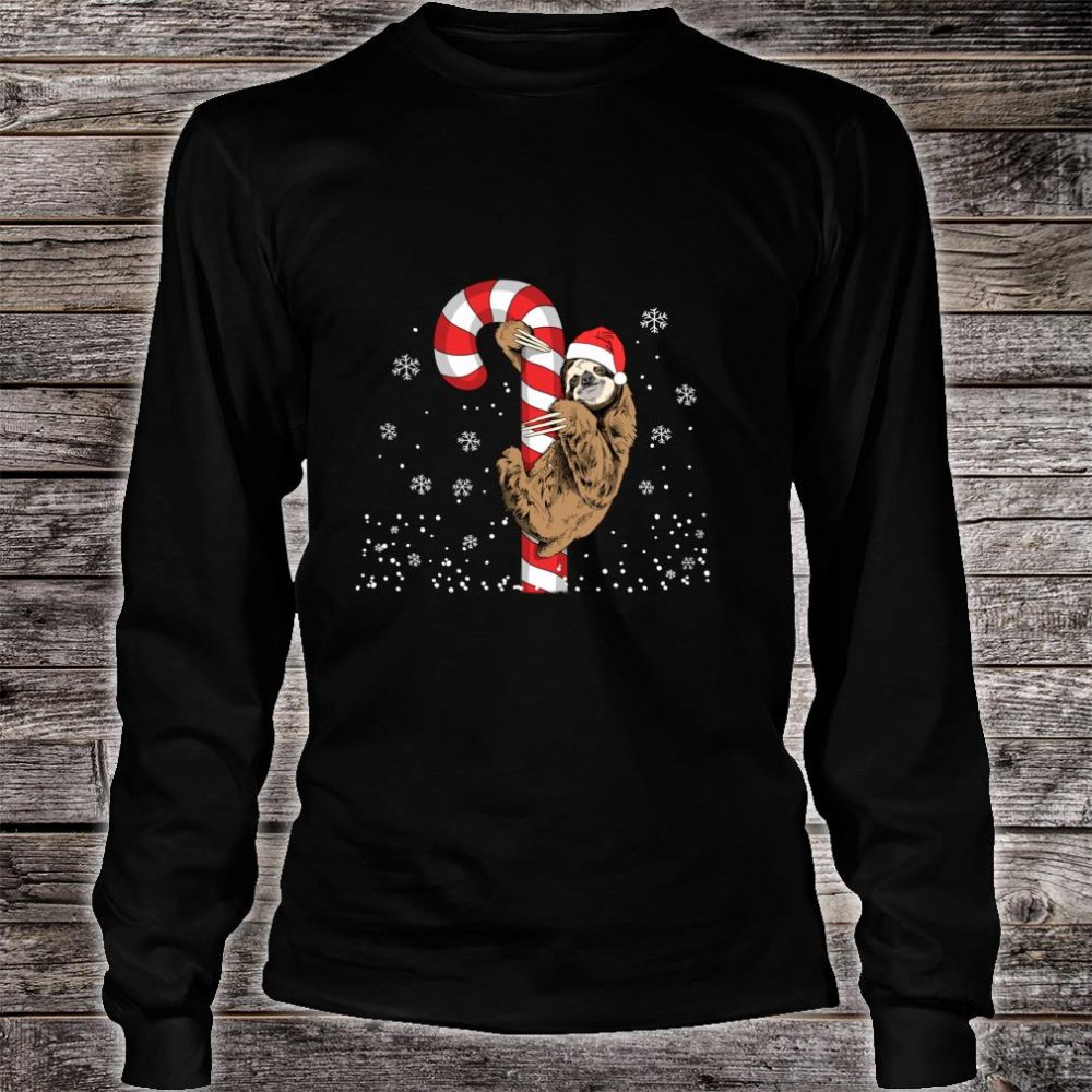 Santa Sloth Christmas With Candy Cane Sloth Shirt long sleeved