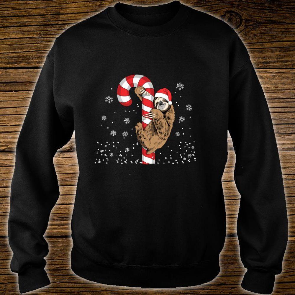 Santa Sloth Christmas With Candy Cane Sloth Shirt sweater