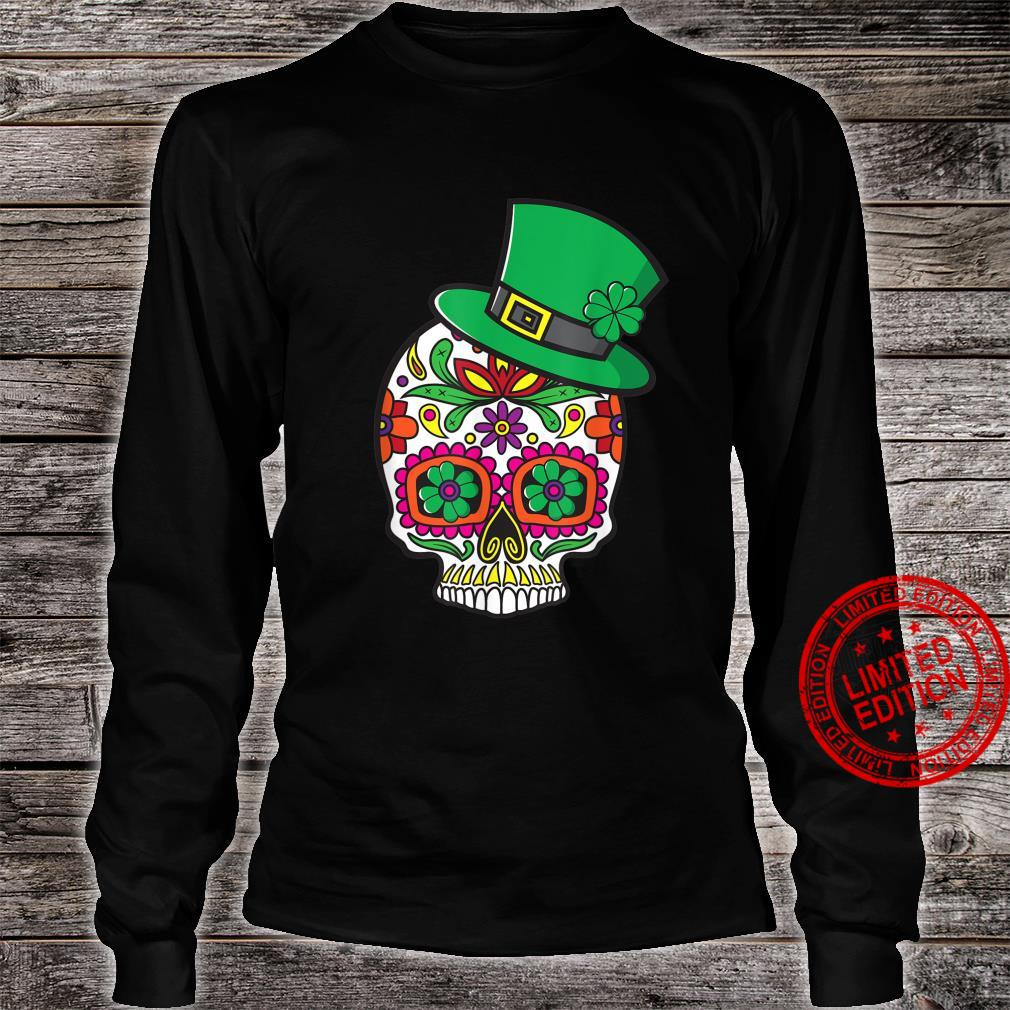Sugar Skull St Patrick Day of the Dead Lucky Shamrock Floral Shirt long sleeved
