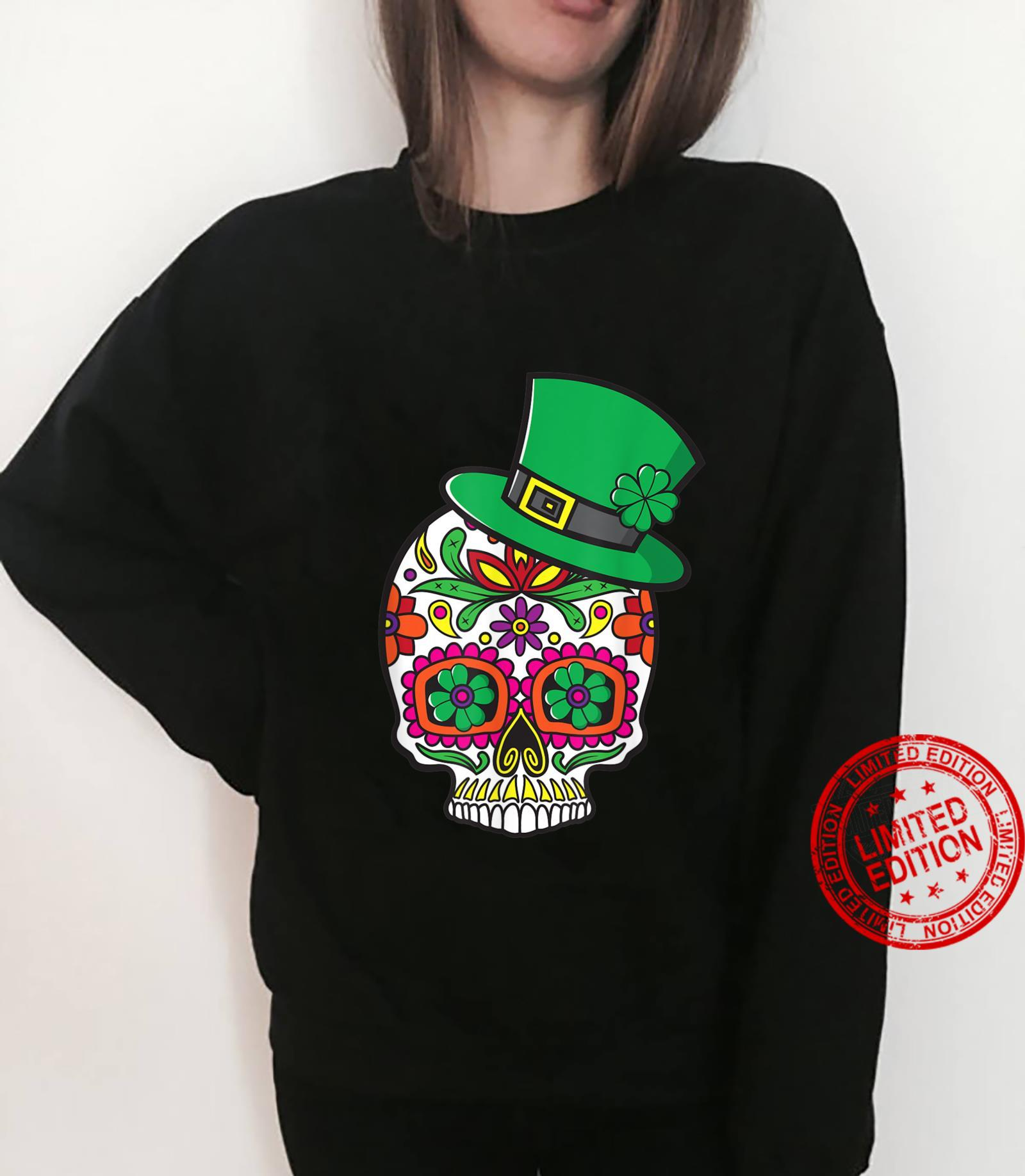 Sugar Skull St Patrick Day of the Dead Lucky Shamrock Floral Shirt sweater