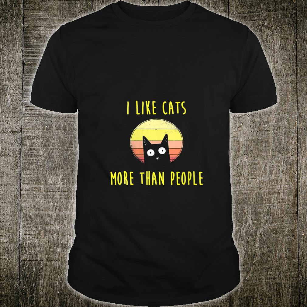Womens I Like Cats More Than People Cats Cat Mama Shirt